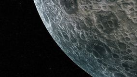 Flight over the surface of the Moon. On stars background Stock Image