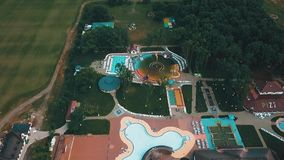 Fly in the air, travel. Flight over swimming pools with drone. Travel in Ukraine. Beautiful places stock footage