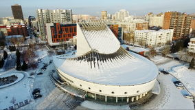 Flight over the theater in winter. flying over the city. architecture stock footage