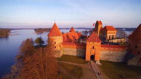 Flight over Trakai castle, Lithuania. Lithuania, the castle of Trakai at sunrise, aerial view video stock video