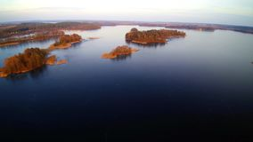 Flight over Trakai lakes, Lithuania. Lithuania, the castle of Trakai at sunrise, aerial view video stock video footage