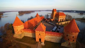 Flight over Trakai, Lithuania. Lithuania, the castle of Trakai at sunrise, aerial view video stock video footage