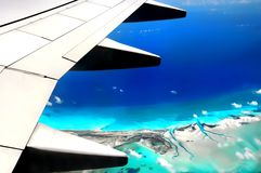 Flight over tropical islands Stock Images