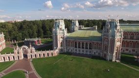 Tsaritsino palace in Moscow. Queen Ekaterina residence. Park garden architecture. Flight over Tsaritsino palace in Moscow. Queen Ekaterina residence. Park stock footage