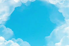 Flight over white clouds under blue sky background Royalty Free Stock Photo