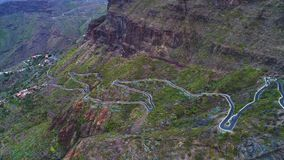 Aerial view winding road near Masca gorge stock video