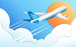 The flight of a passenger airplane. Travel, tourism and business. Blue sky, sun and white cumulus clouds. The effect of cut paper. royalty free illustration