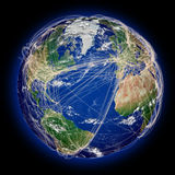 Flight paths on northern hemisphere Royalty Free Stock Photo
