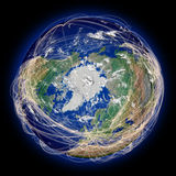 Flight paths on northern hemisphere Stock Photo