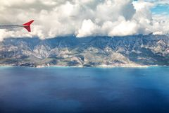 Flight by plane over the mountains of Turkey. And the Mediterranean Sea Stock Image