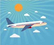 Flight of the plane in the sky. Passenger planes, airplane, airc royalty free illustration