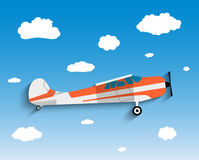 Flight of the plane in sky. Flight of the plane in the sky. Passenger planes, airplane, flight, clouds, sky. vector illustration in Flat design Stock Photo