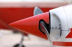 Flight propeller. Close up shot of red charter flight propeller Stock Images