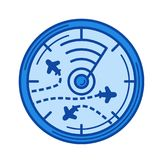 Flight radar line icon. stock illustration