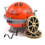 Flight recorder and sound tapes. On white background Stock Photo