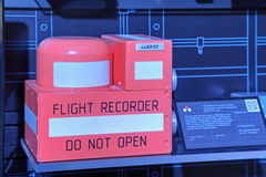 Flight recorder. ZHUKOVSKY, MOSCOW REGION, RUSSIA - AUG 30, 2015: Flight recorder production company KRET (Concern Radio-Electronic Technologies) at the Royalty Free Stock Images