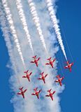 Flight of the red arrows royal air force aerobatic display team aeroplanes planes jets sky hawk airshow aircraft