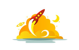 Flight red rocket color illustration. The startup metaphor. Ready to start. The beginning path to the stars. Flight red rocket color illustration. Flat style Royalty Free Stock Images