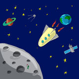 Flight rocket from  Earth to moon Royalty Free Stock Image