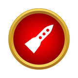 Flight rocket icon, simple style. Flight rocket icon in simple style in red circle. Research and science symbol Royalty Free Stock Photos