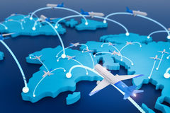 Flight route with world map. 3d rendering flight route with world map Stock Photography