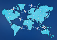 Flight route with world map. 3d rendering flight route with world map Royalty Free Stock Image