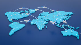 Flight route with world map. 3d rendering flight route with world map Royalty Free Stock Photography