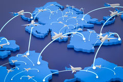 Flight route with world map. 3d rendering flight route with world map Royalty Free Stock Photo