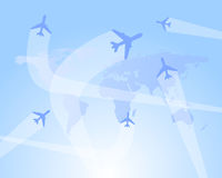 Flight routes  background. Vector illustration of flight routes as background with world map and airplanes Royalty Free Stock Photo