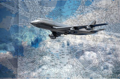 Flight routes map Stock Image