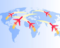Flight routes on the world map. Stylized airplanes flying over a map of the world as travel concept Royalty Free Stock Photos