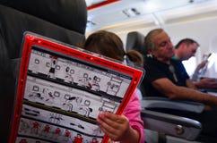 Flight safety instructions Stock Image