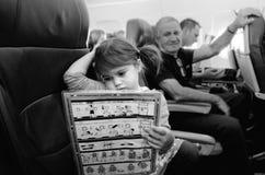 Flight safety instructions Stock Photos