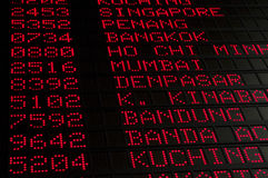 Flight schedule. Close up of flight schedule in Asia airport Royalty Free Stock Photo