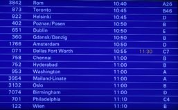 Flight schedule display board. Blue electronic display board showing flight schedule for different destinations stock photos