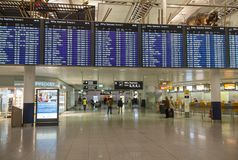 Flight schedule signboard at Munich Airport, Germany, 2016 Stock Photography