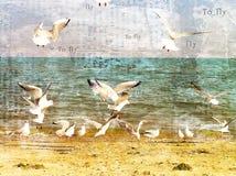 Flight of seagulls over the sea. stock illustration