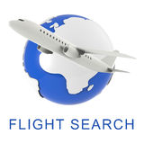 Flight Search Shows Gathering Data And Air 3d Rendering Stock Photo