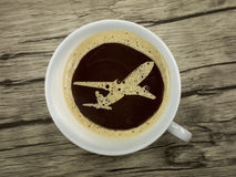Flight service provides coffee Royalty Free Stock Photo