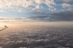 A flight in the sky. With sundown Stock Photography
