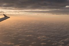 A flight in the sky. With sundown Stock Image