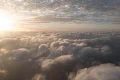 A flight in the sky. With sundown Royalty Free Stock Images