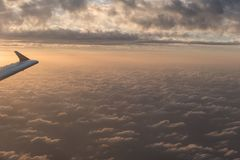 A flight in the sky. With sundown Royalty Free Stock Image