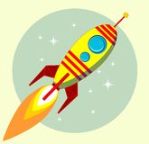 Flight of the Space Rocket, Vector Royalty Free Stock Image