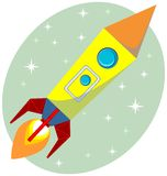 Flight of the Space Rocket, Vector Royalty Free Stock Photos