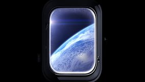 The flight of the spaceship over the Earth. Earth as seen through window of spaceship, Space, earth, orbit, ISS, NASA. 3D renderin Royalty Free Stock Images
