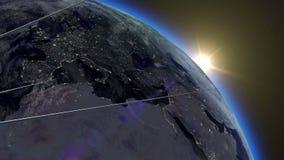 Flight of Sputnik. Flight of the first Sputnik above the surface of the earth at sunrise