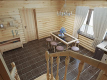 The flight of stairs in the kitchen-dining-room log cabin interi Royalty Free Stock Photography
