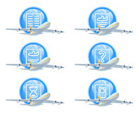 Flight status icon set Royalty Free Stock Photography