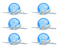 Flight status icon set Stock Photo